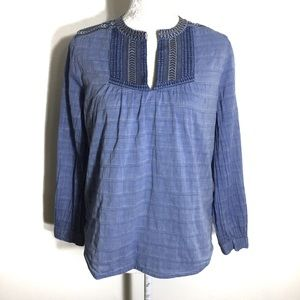 SALE❗️J crew • chambray embroidered peasant top